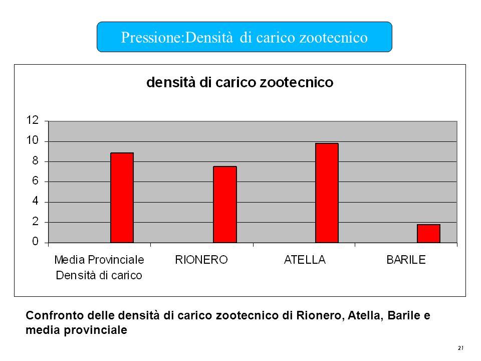 21 Pressione:Densità di carico zootecnico Confronto delle densità di carico zootecnico di Rionero, Atella, Barile e media provinciale