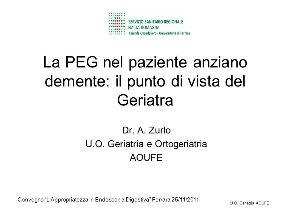 La PEG nel paziente anziano demente: il punto di vista del Geriatra Dr. A. Zurlo U.O. Geriatria e Ortogeriatria AOUFE Convegno LAppropriatezza in Endo