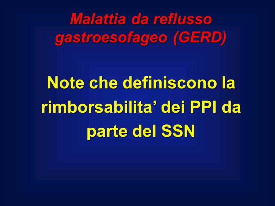 Note che definiscono la rimborsabilita dei PPI da parte del SSN Malattia da reflusso gastroesofageo (GERD)