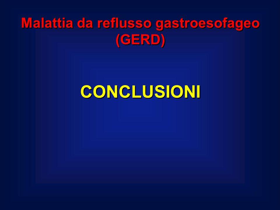 Malattia da reflusso gastroesofageo (GERD) CONCLUSIONI Malattia da reflusso gastroesofageo (GERD) CONCLUSIONI