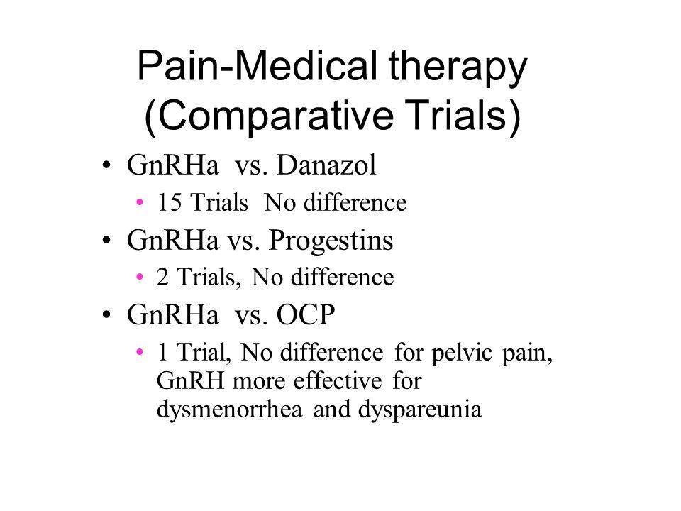 Pain-Medical therapy (Comparative Trials) GnRHa vs. Danazol 15 Trials No difference GnRHa vs. Progestins 2 Trials, No difference GnRHa vs. OCP 1 Trial