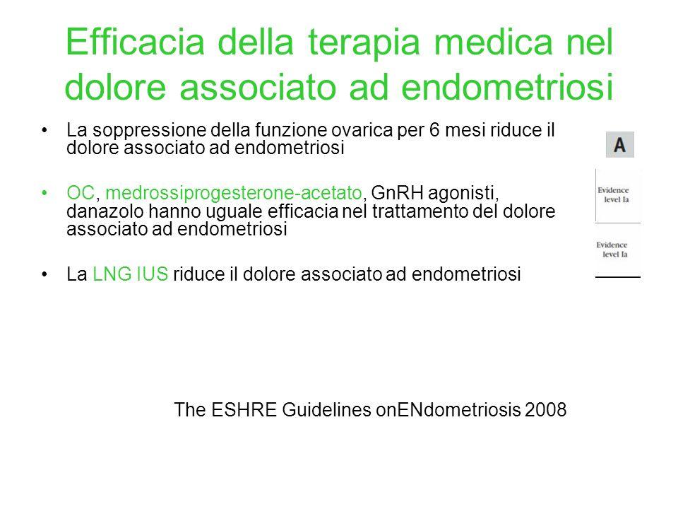 Efficacia della terapia medica nel dolore associato ad endometriosi La soppressione della funzione ovarica per 6 mesi riduce il dolore associato ad en