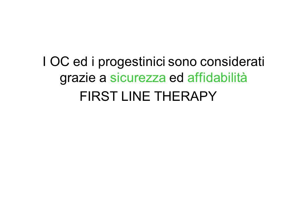 I OC ed i progestinici sono considerati grazie a sicurezza ed affidabilità FIRST LINE THERAPY