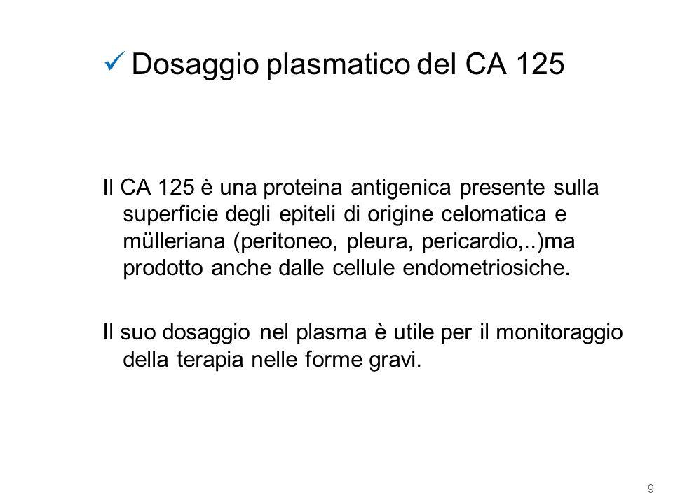 9 Dosaggio plasmatico del CA 125 Il CA 125 è una proteina antigenica presente sulla superficie degli epiteli di origine celomatica e mülleriana (perit