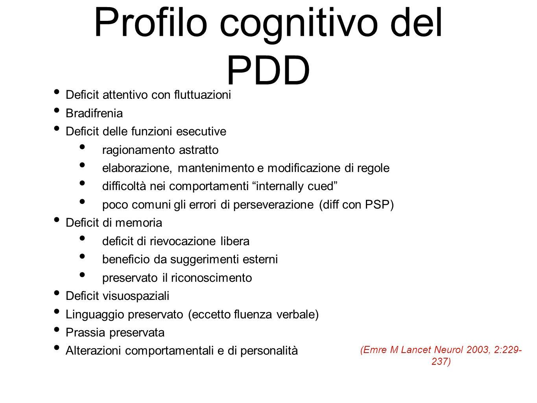 Profilo cognitivo del PDD Deficit attentivo con fluttuazioni Bradifrenia Deficit delle funzioni esecutive ragionamento astratto elaborazione, mantenim