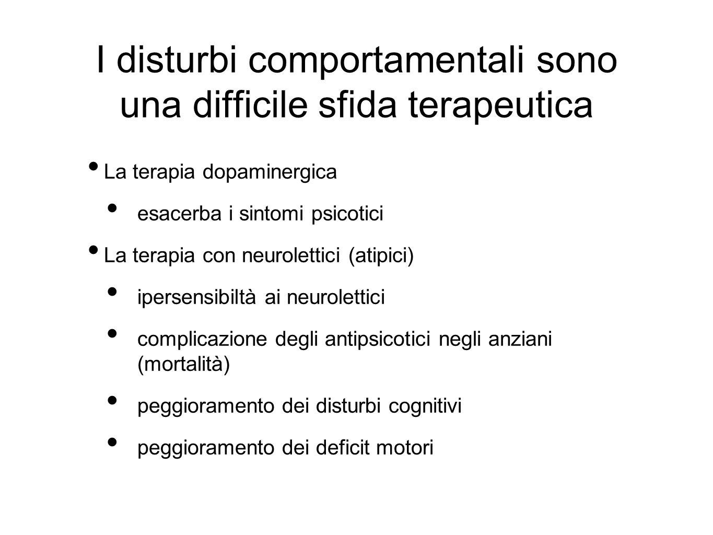 I disturbi comportamentali sono una difficile sfida terapeutica La terapia dopaminergica esacerba i sintomi psicotici La terapia con neurolettici (ati