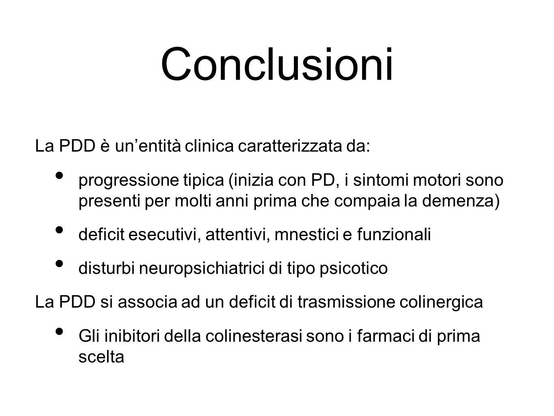 Conclusioni La PDD è unentità clinica caratterizzata da: progressione tipica (inizia con PD, i sintomi motori sono presenti per molti anni prima che c