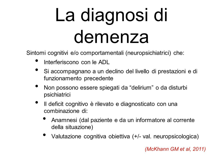 La diagnosi di demenza Sintomi cognitivi e/o comportamentali (neuropsichiatrici) che: Interferiscono con le ADL Si accompagnano a un declino del livel