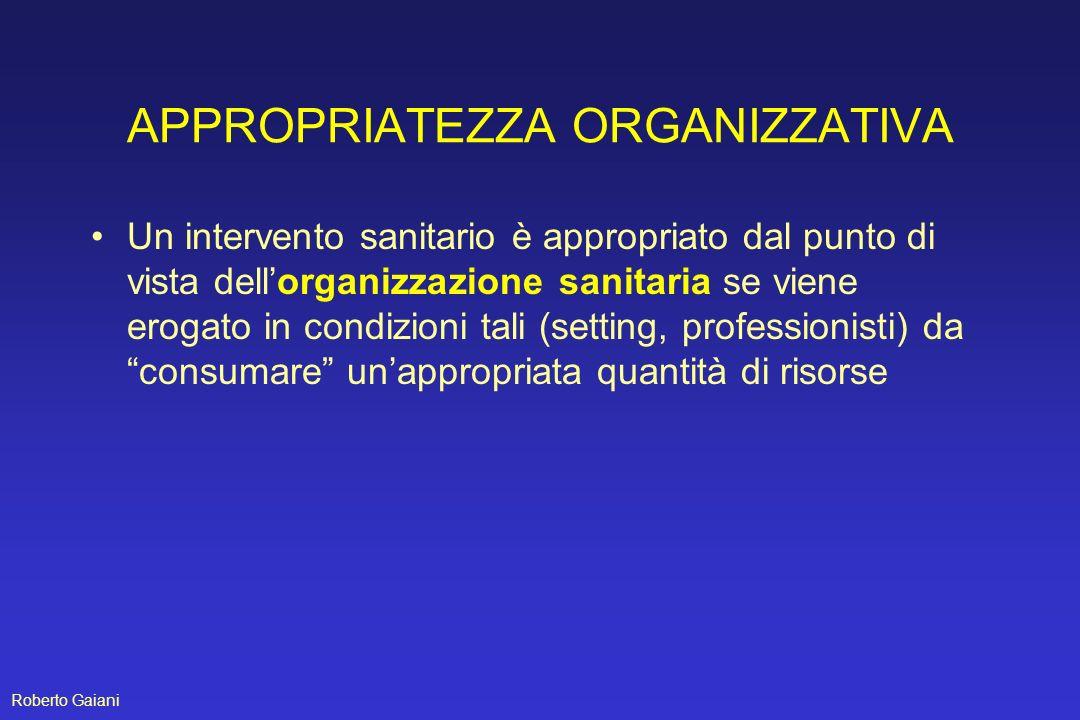 APPROPRIATEZZA ORGANIZZATIVA Un intervento sanitario è appropriato dal punto di vista dellorganizzazione sanitaria se viene erogato in condizioni tali