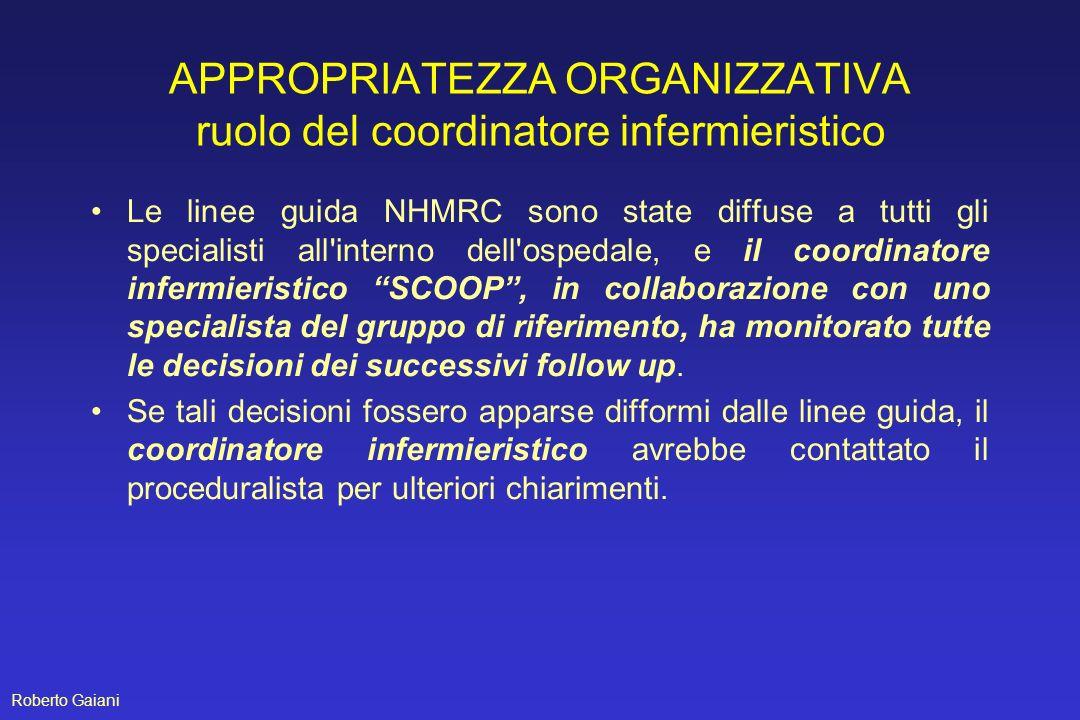 APPROPRIATEZZA ORGANIZZATIVA ruolo del coordinatore infermieristico Le linee guida NHMRC sono state diffuse a tutti gli specialisti all'interno dell'o