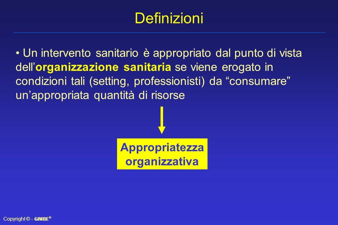 Copyright © - GIMBE Definizioni Un intervento sanitario è appropriato dal punto di vista dellorganizzazione sanitaria se viene erogato in condizioni t