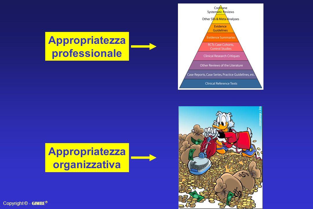 Copyright © - GIMBE Appropriatezza professionale Appropriatezza organizzativa