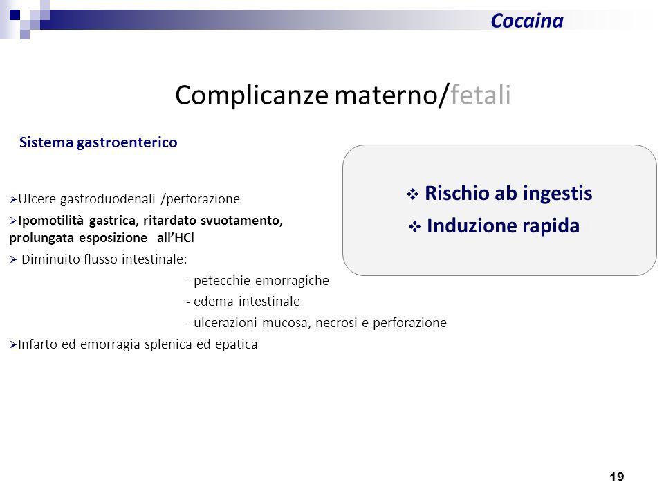 19 Cocaina Complicanze materno/fetali Sistema gastroenterico Ulcere gastroduodenali /perforazione Ipomotilità gastrica, ritardato svuotamento, prolung