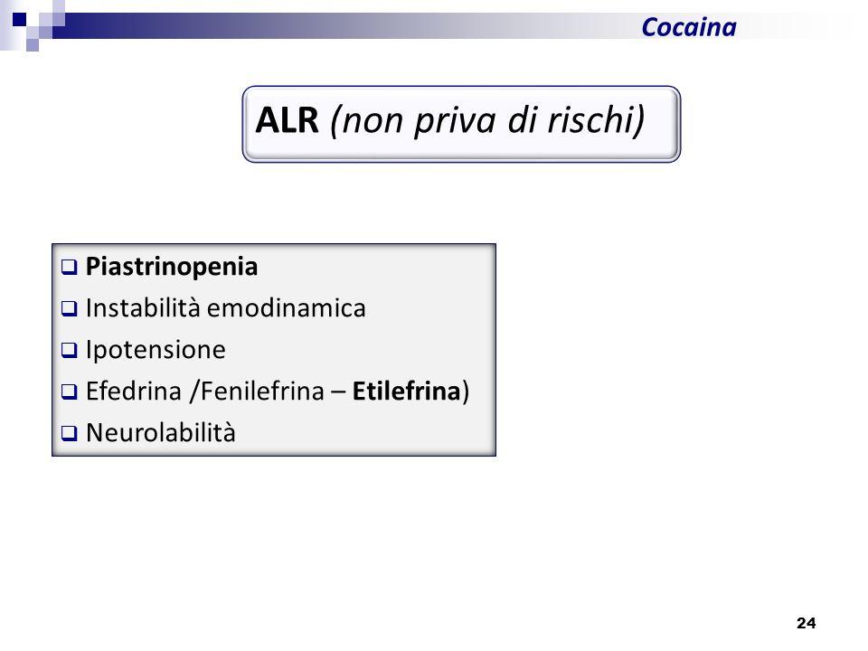 24 Cocaina ALR (non priva di rischi) Piastrinopenia Instabilità emodinamica Ipotensione Efedrina /Fenilefrina – Etilefrina) Neurolabilità