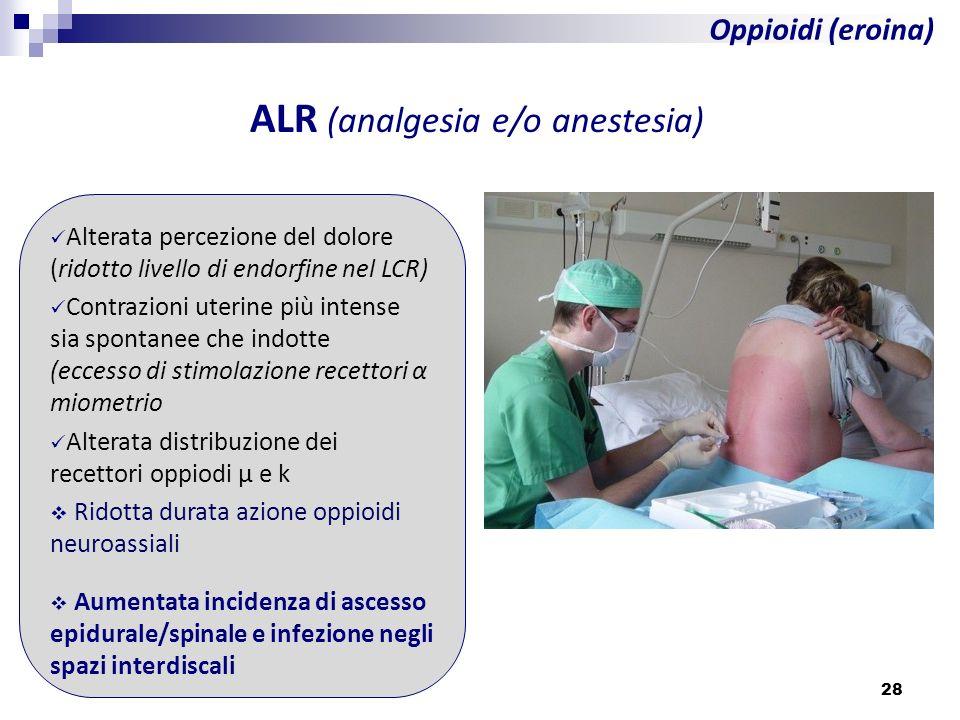 28 Oppioidi (eroina) ALR (analgesia e/o anestesia) Alterata percezione del dolore (ridotto livello di endorfine nel LCR) Contrazioni uterine più inten