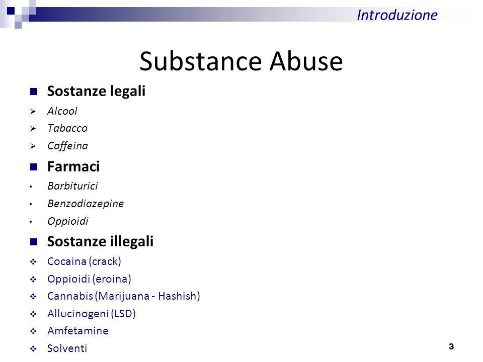 Substance Abuse Sostanze legali Alcool Tabacco Caffeina Farmaci Barbiturici Benzodiazepine Oppioidi Sostanze illegali Cocaina (crack) Oppioidi (eroina