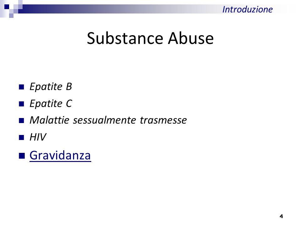Epatite B Epatite C Malattie sessualmente trasmesse HIV Gravidanza Substance Abuse Introduzione 4