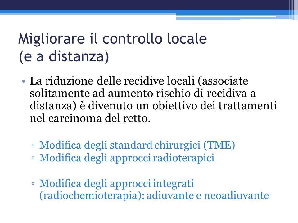 Migliorare il controllo locale (e a distanza) La riduzione delle recidive locali (associate solitamente ad aumento rischio di recidiva a distanza) è d