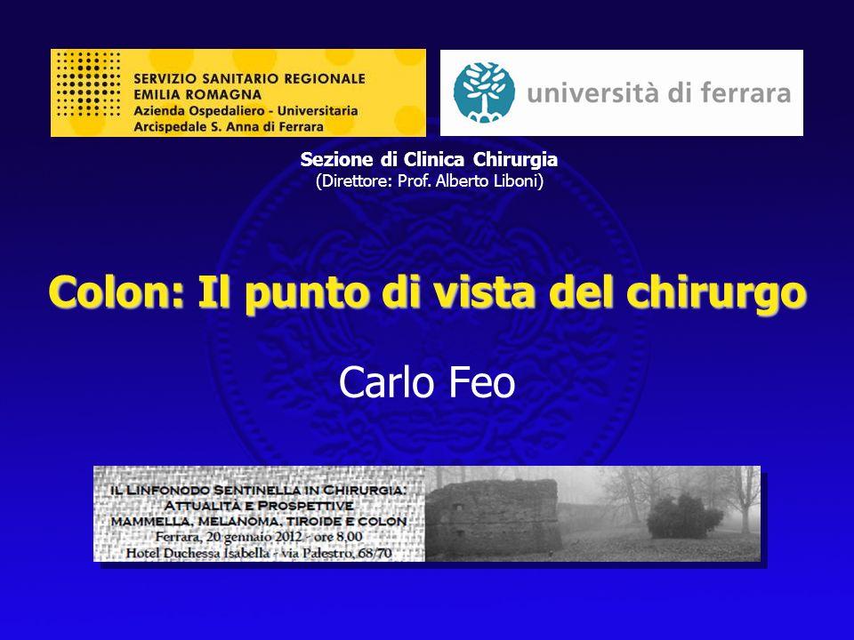 Colon: Il punto di vista del chirurgo Colon: Il punto di vista del chirurgo Carlo Feo Sezione di Clinica Chirurgia (Direttore: Prof. Alberto Liboni)