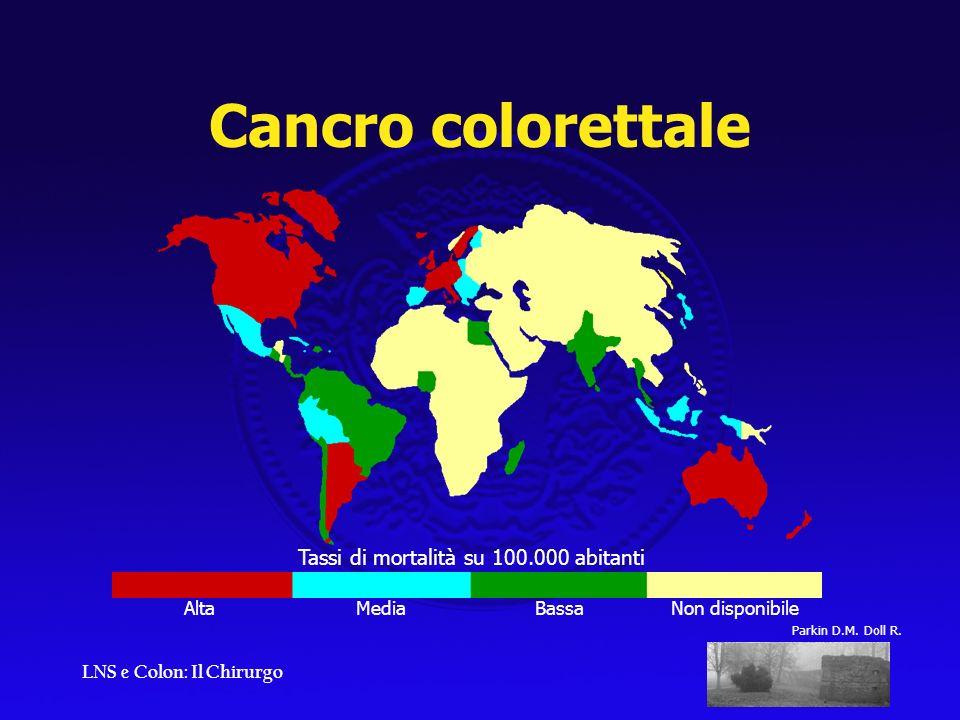 LNS e Colon: Il Chirurgo Tassi di mortalità su 100.000 abitanti Alta Media Bassa Non disponibile Parkin D.M. Doll R. Cancro colorettale