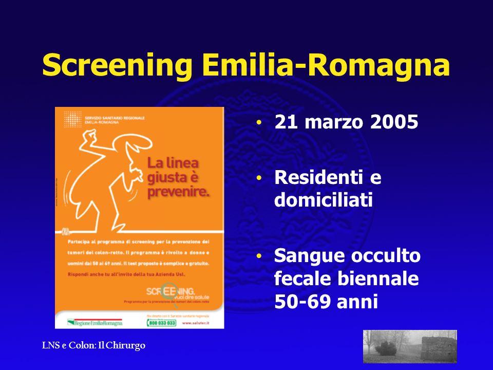 LNS e Colon: Il Chirurgo Screening Emilia-Romagna 21 marzo 2005 Residenti e domiciliati Sangue occulto fecale biennale 50-69 anni