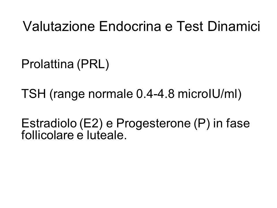 Valutazione Endocrina e Test Dinamici Prolattina (PRL) TSH (range normale 0.4-4.8 microIU/ml) Estradiolo (E2) e Progesterone (P) in fase follicolare e