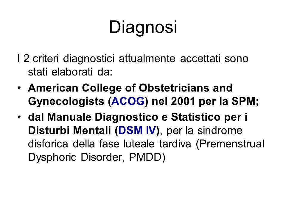 Diagnosi I 2 criteri diagnostici attualmente accettati sono stati elaborati da: American College of Obstetricians and Gynecologists (ACOG) nel 2001 pe