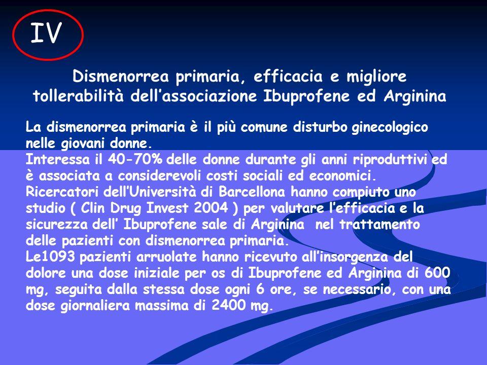 Dismenorrea primaria, efficacia e migliore tollerabilità dellassociazione Ibuprofene ed Arginina La dismenorrea primaria è il più comune disturbo ginecologico nelle giovani donne.