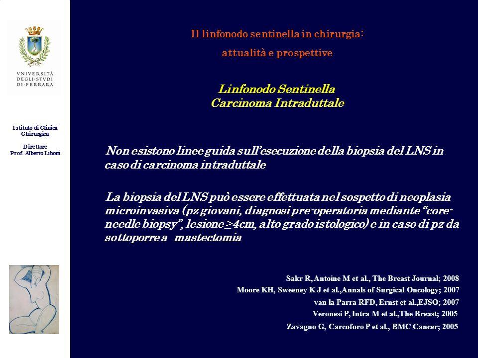 Istituto di Clinica Chirurgica Direttore Prof. Alberto Liboni Il linfonodo sentinella in chirurgia: attualità e prospettive Non esistono linee guida s