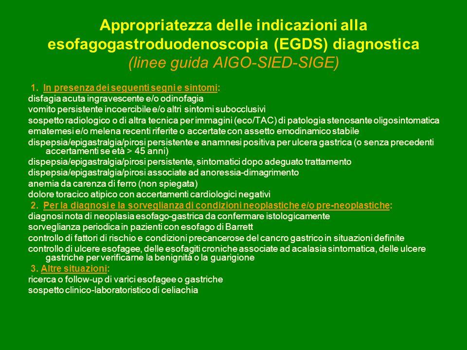 Appropriatezza delle indicazioni alla esofagogastroduodenoscopia (EGDS) diagnostica (linee guida AIGO-SIED-SIGE) 1. In presenza dei seguenti segni e s