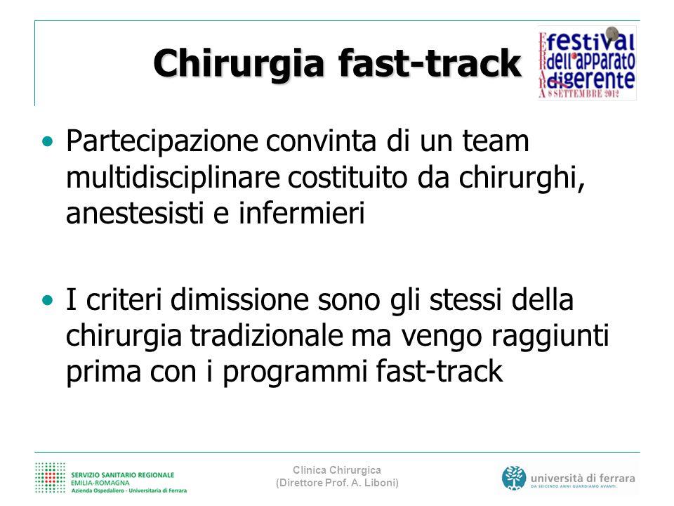 Chirurgia fast-track Partecipazione convinta di un team multidisciplinare costituito da chirurghi, anestesisti e infermieri I criteri dimissione sono