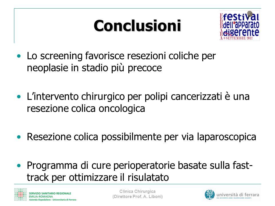 Conclusioni Lo screening favorisce resezioni coliche per neoplasie in stadio più precoce Lintervento chirurgico per polipi cancerizzati è una resezion