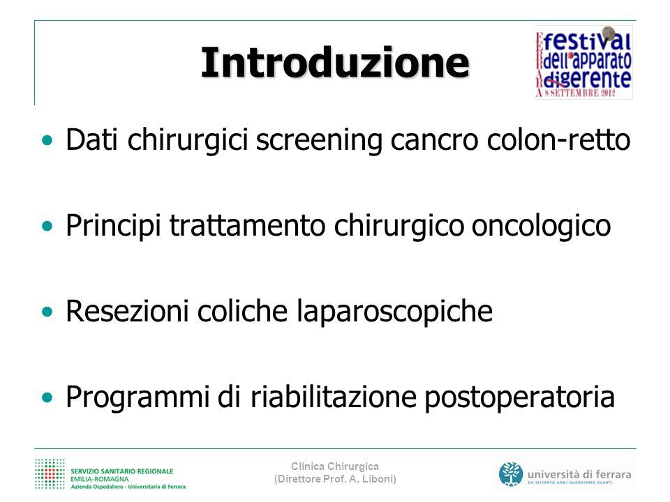 Introduzione Dati chirurgici screening cancro colon-retto Principi trattamento chirurgico oncologico Resezioni coliche laparoscopiche Programmi di ria