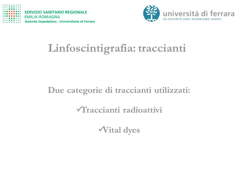 Linfoscintigrafia: traccianti Due categorie di traccianti utilizzati: Traccianti radioattivi Vital dyes