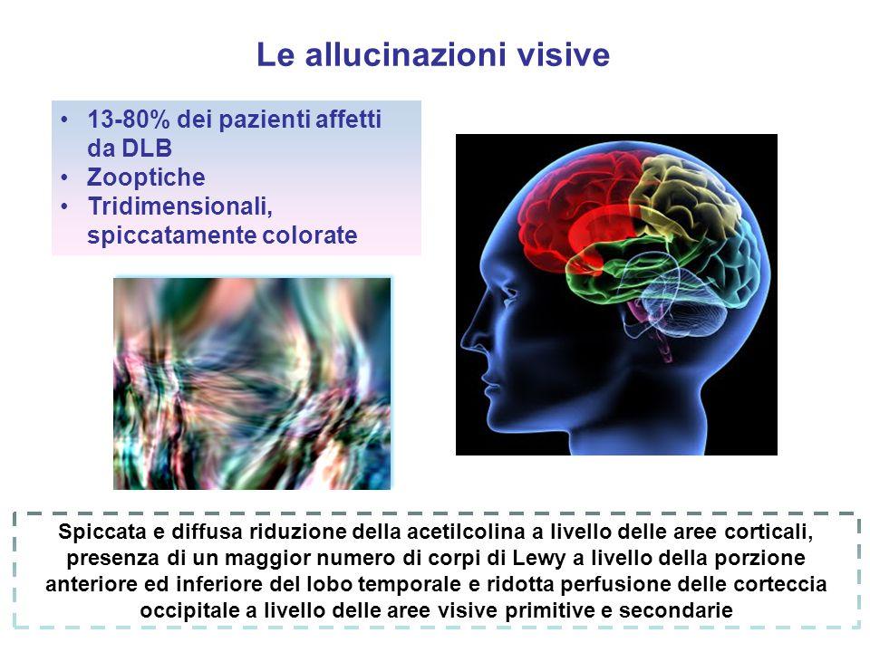Le allucinazioni visive 13-80% dei pazienti affetti da DLB Zooptiche Tridimensionali, spiccatamente colorate Spiccata e diffusa riduzione della acetil