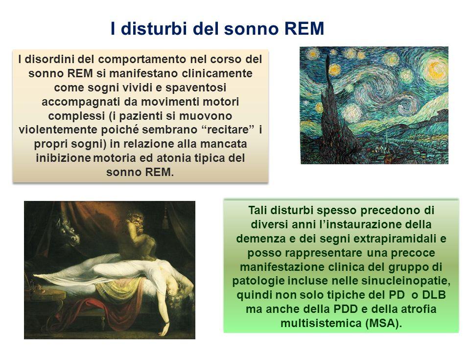 I disturbi del sonno REM I disordini del comportamento nel corso del sonno REM si manifestano clinicamente come sogni vividi e spaventosi accompagnati