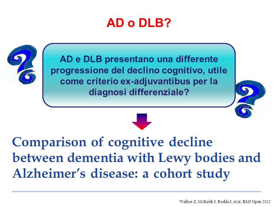 AD o DLB? AD e DLB presentano una differente progressione del declino cognitivo, utile come criterio ex-adjuvantibus per la diagnosi differenziale? Wa