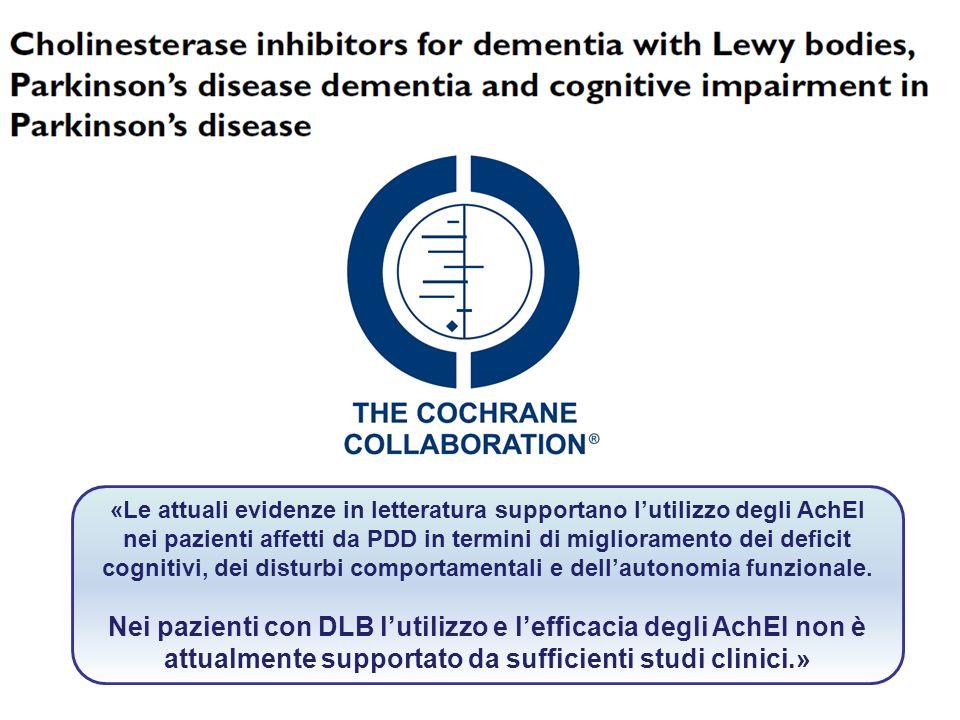 «Le attuali evidenze in letteratura supportano lutilizzo degli AchEI nei pazienti affetti da PDD in termini di miglioramento dei deficit cognitivi, de