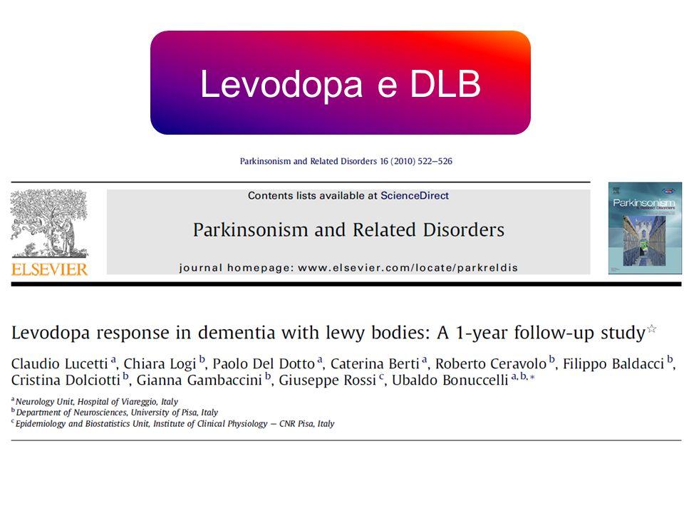 Liniziale miglioramento del punteggio UDPRS II e III nei pazienti affetti da DLB «acute responders» si è marcatamente ridotto dopo un anno di follow- up rispetto ai pazienti con PD trattati con L-dopa, indicando una minor risposta alla terapia cronica