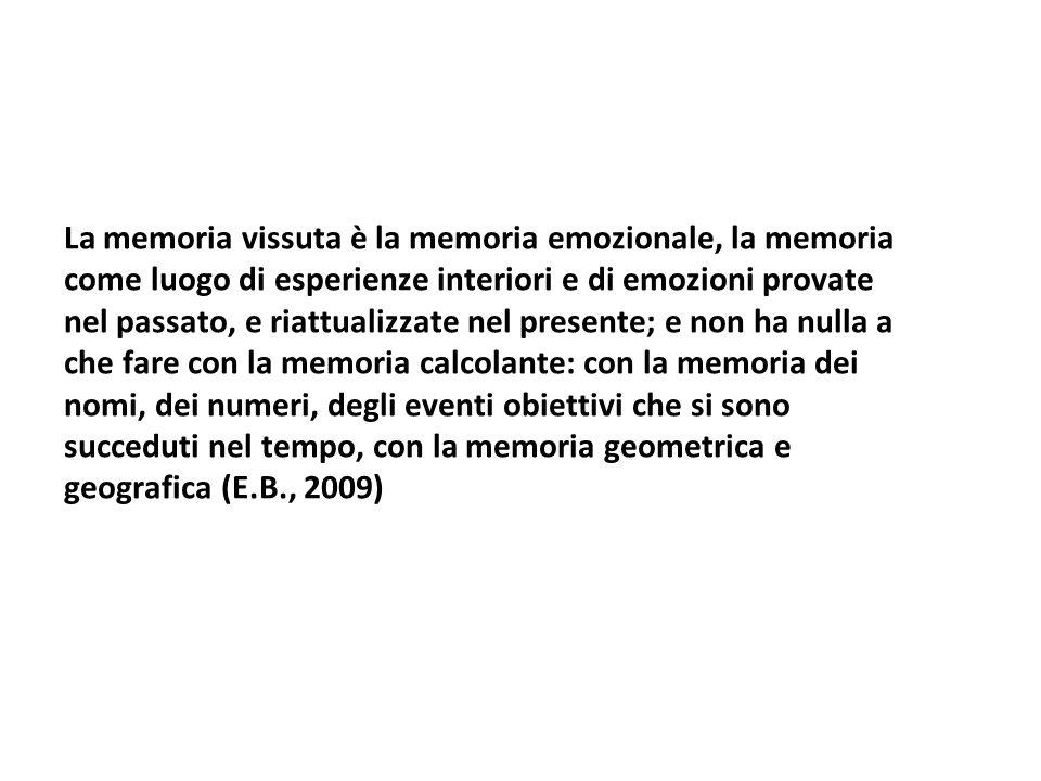 La memoria vissuta è la memoria emozionale, la memoria come luogo di esperienze interiori e di emozioni provate nel passato, e riattualizzate nel pres