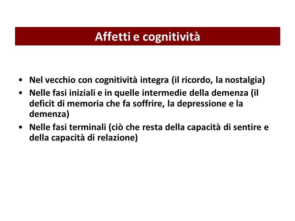 Nel vecchio con cognitività integra (il ricordo, la nostalgia) Nelle fasi iniziali e in quelle intermedie della demenza (il deficit di memoria che fa soffrire, la depressione e la demenza) Nelle fasi terminali (ciò che resta della capacità di sentire e della capacità di relazione) Affetti e cognitività