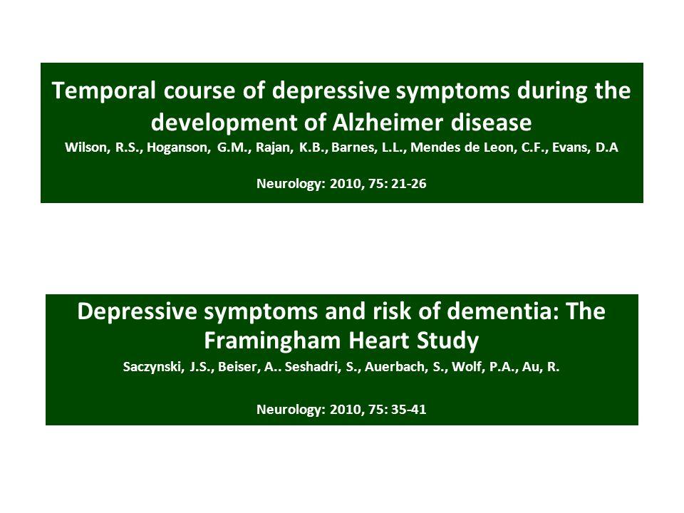 Temporal course of depressive symptoms during the development of Alzheimer disease Wilson, R.S., Hoganson, G.M., Rajan, K.B., Barnes, L.L., Mendes de