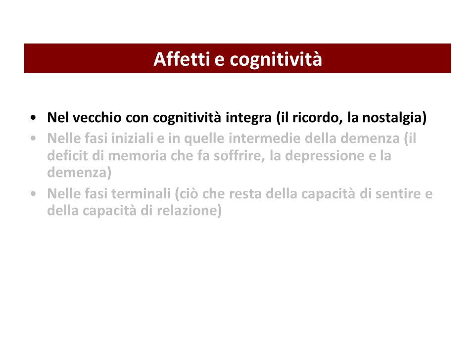 Nel vecchio con cognitività integra (il ricordo, la nostalgia) Nelle fasi iniziali e in quelle intermedie della demenza (il deficit di memoria che fa