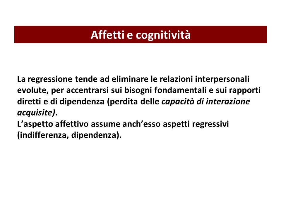 La regressione tende ad eliminare le relazioni interpersonali evolute, per accentrarsi sui bisogni fondamentali e sui rapporti diretti e di dipendenza