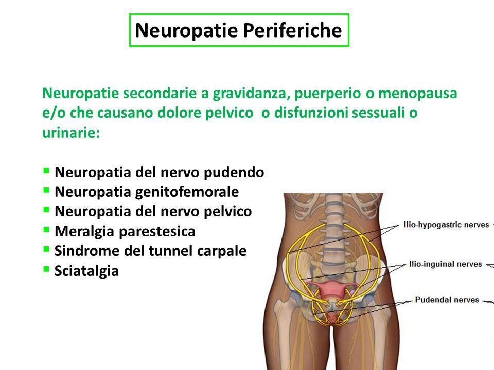 Neuropatie Periferiche Neuropatie secondarie a gravidanza, puerperio o menopausa e/o che causano dolore pelvico o disfunzioni sessuali o urinarie: Neuropatia del nervo pudendo Neuropatia genitofemorale Neuropatia del nervo pelvico Meralgia parestesica Sindrome del tunnel carpale Sciatalgia