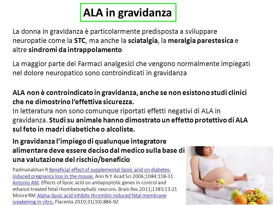 ALA in gravidanza La donna in gravidanza è particolarmente predisposta a sviluppare neuropatie come la STC, ma anche la sciatalgia, la meralgia parestesica e altre sindromi da intrappolamento La maggior parte dei Farmaci analgesici che vengono normalmente impiegati nel dolore neuropatico sono controindicati in gravidanza ALA non è controindicato in gravidanza, anche se non esistono studi clinici che ne dimostrino leffettiva sicurezza.