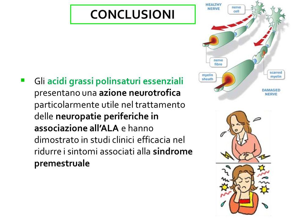 Gli acidi grassi polinsaturi essenziali presentano una azione neurotrofica particolarmente utile nel trattamento delle neuropatie periferiche in associazione allALA e hanno dimostrato in studi clinici efficacia nel ridurre i sintomi associati alla sindrome premestruale CONCLUSIONI