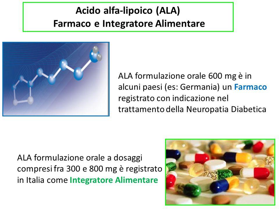Acido alfa-lipoico (ALA) Farmaco e Integratore Alimentare ALA formulazione orale 600 mg è in alcuni paesi (es: Germania) un Farmaco registrato con indicazione nel trattamento della Neuropatia Diabetica ALA formulazione orale a dosaggi compresi fra 300 e 800 mg è registrato in Italia come Integratore Alimentare