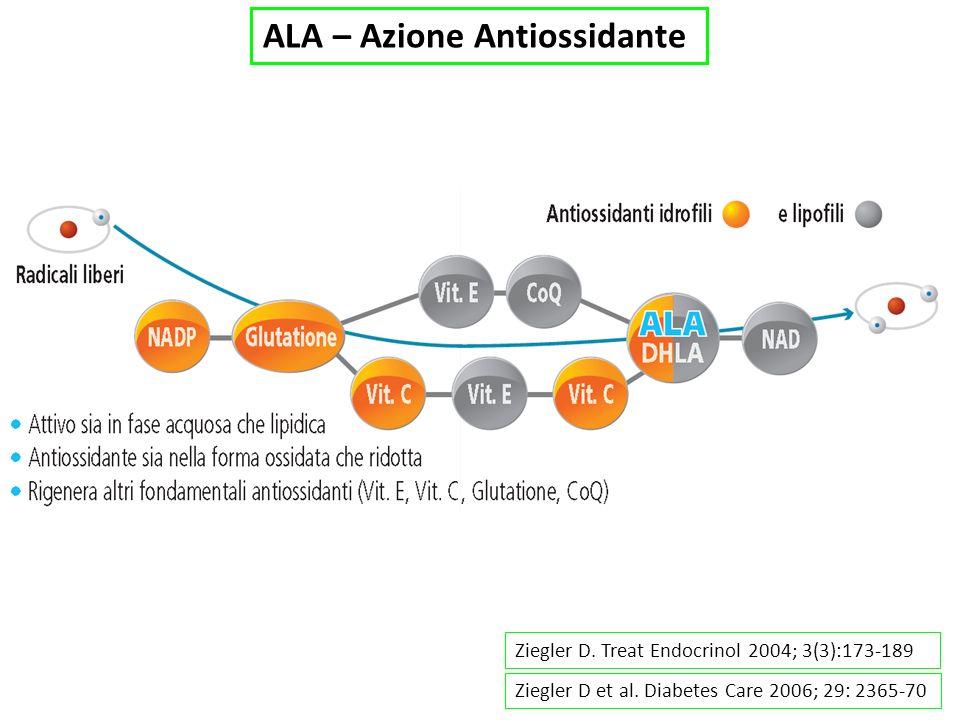 Ziegler D. Treat Endocrinol 2004; 3(3):173-189 Ziegler D et al. Diabetes Care 2006; 29: 2365-70 ALA – Azione Antiossidante
