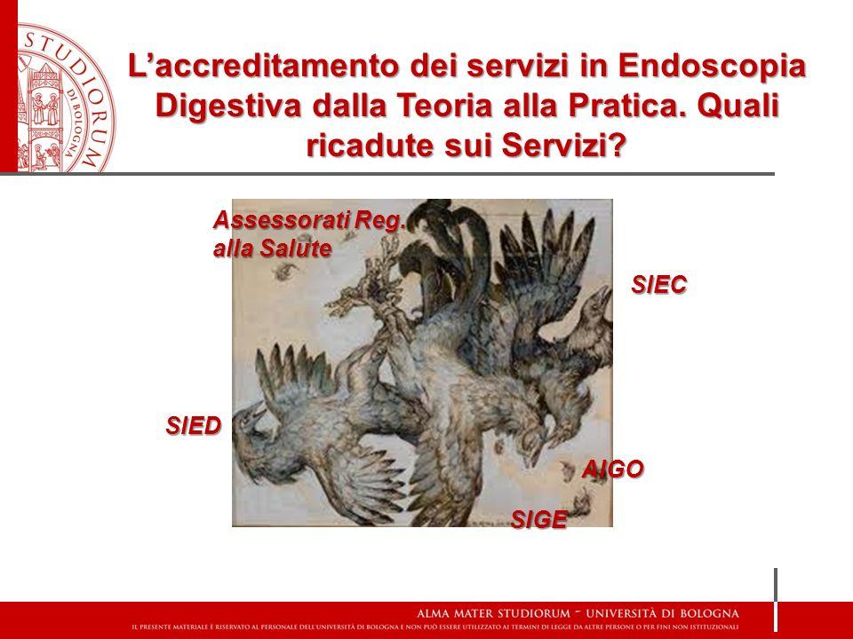 SIED SIGE AIGO SIEC Assessorati Reg. alla Salute Laccreditamento dei servizi in Endoscopia Digestiva dalla Teoria alla Pratica. Quali ricadute sui Ser